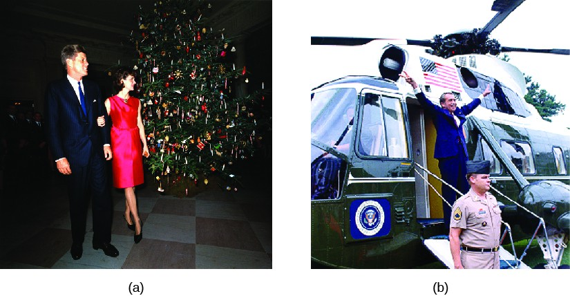 Image A is a photo of John F. Kennedy and Jacqueline Kennedy. Image B is a photo of Richard Nixon standing in front of a helicopter making