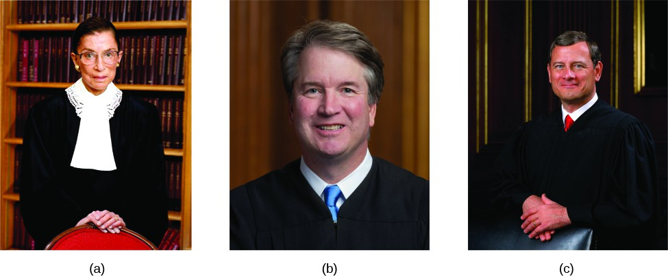 Image A is of Justice Ruth Bader Ginsburg. Image B is of Justice Brett Kavanaugh. Image C is of Justice John Roberts.