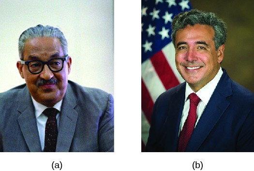 Image A is of Justice Thurgood Marshall. Image B is of Noel Francisco.