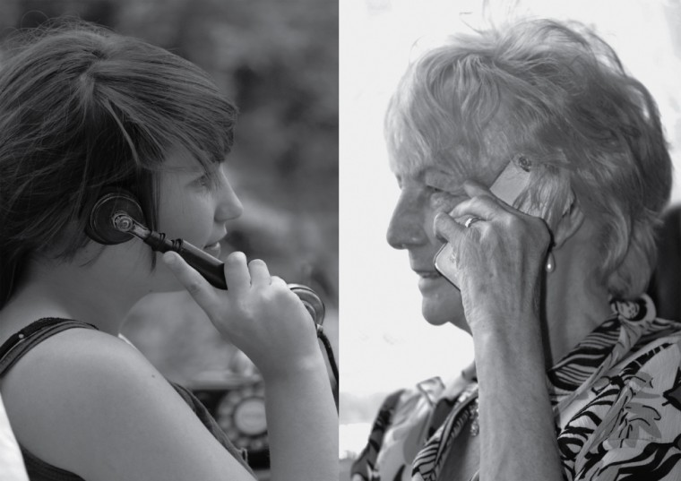 This figure consists of two photos. One photo shows a young woman on the phone. Her skin is smooth and unwrinkled. The other photo shows an elderly women in the same posture while on the phone. The skin of her hands and forearms is wrinkled.