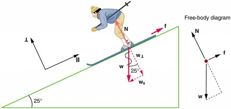 The figure shows a skier going down a slope that forms an angle of 25 degrees with the horizontal. The weight of the skier, labeled w, is represented by a red arrow pointing vertically downward. This weight is divided into two components, w perpendicular is perpendicular to the slope, and w parallel is parallel to the slope. The normal force, labeled N, is also perpendicular to the slope, equal in magnitude but opposite in direction to w perpendicular. The friction, f, is represented by a red arrow pointing upslope. In addition, the figure shows a free body diagram that shows the relative magnitudes and directions of w, f, and N.