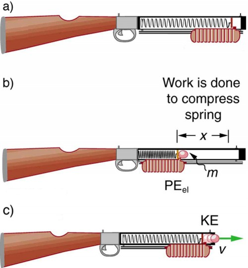 The figure a shows an artistic impression of a tranquilizer gun, which shows the inside of it revealing the gun spring and a panel just below it, in the outside area, attached to the spring. This stage shows the gun before it is cocked, and the spring is uncompressed covering the entire inside area. The figure b shows the gun with the spring in the compressed mode. The spring has been compressed to a distance x, where x distance shows the vacant area inside the gun through which the spring has been compressed. The panel is also moving along the spring. And a bullet of mass m is shown at the front of the compressed spring. The spring here has elastic potential energy, represented by P E sub e l. The figure c is the third stage of the above two stages of the gun. The spring here is released from the compressed stage releasing the bullet in the outer forward direction with velocity V and the spring's potential energy is converted into kinetic energy, represented here by K E.