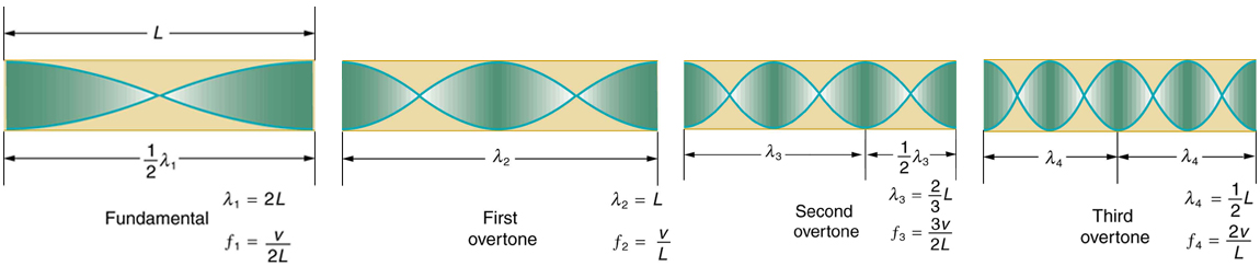 The resonant frequency waves in a tube open at both ends are shown. There are a set of four images. The first image shows a tube of length L marked fundamental having half a wave. The maxima of the vibrations are on both the open ends of the tube. The second image shows a tube of length L marked first over tone having a full wave. The maxima of the vibrations are on both the open ends of the tube. The third image shows a tube of length L marked second over tone having a full wave and a half. The maxima of the vibrations are on both the open ends of the tube. The fourth image shows a tube of length L marked third over tone having two full waves. The maxima of the vibrations are on both the open ends of the tube.