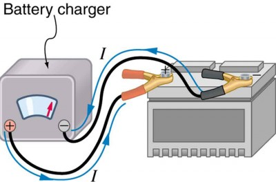 the diagram shows a car battery being charged with cables from a battery  charger  the