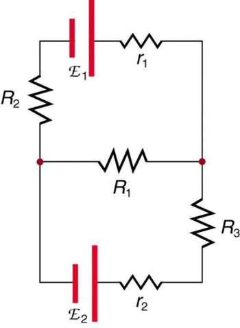 a complicated circuit diagram shows multiple resistances and voltage  sources wired in series and in parallel