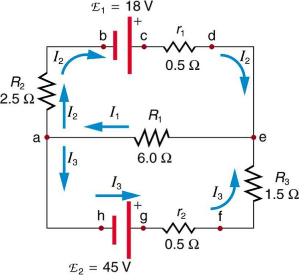 the diagram shows a complex circuit with two voltage sources e sub one and  e sub