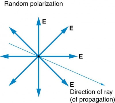 The Figure shows a slender arrow pointing out of the page and to the right; it is labeled direction of ray (of propagation). At a point on this ray, eight bold arrows point in different directions, perpendicularly away from the ray. These arrows are labeled E.