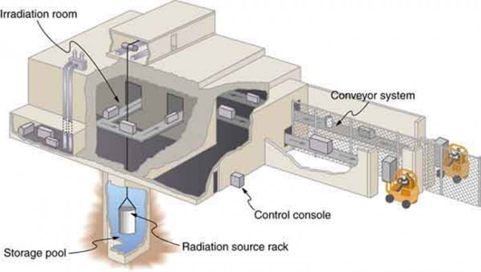 Figure shows a food irradiation plant with conveyor system that moves the food packages through the irradiation room. The radiation source rack is lowered into a deep storage pool of water.