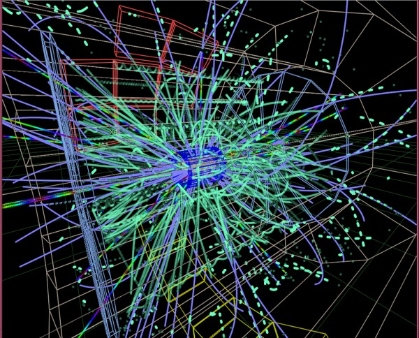 In the figure the track of particles in electron-positron collider is shown/