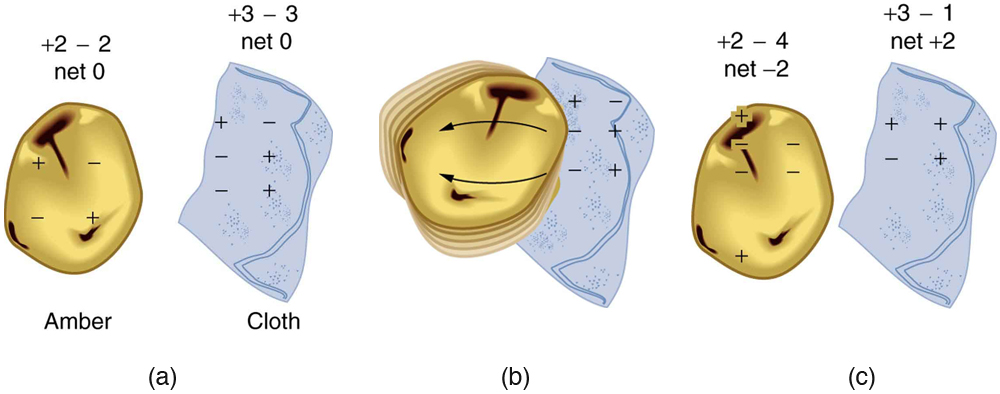 Figure 6. When materials are rubbed together, charges can be separated, particularly if one material has a greater affinity for electrons than another. (a) Both the amber and cloth are originally neutral, with equal positive and negative charges. Only a tiny fraction of the charges are involved, and only a few of them are shown here. (b) When rubbed together, some negative charge is transferred to the amber, leaving the cloth with a net positive charge. (c) When separated, the amber and cloth now have net charges, but the absolute value of the net positive and negative charges will be equal.