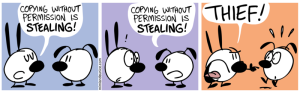 Mimi: Copying without permission is stealing! Eunice: Copying without permission is stealing! Mimi: Thief!