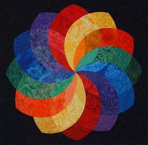 rainbow Dahlia quilt