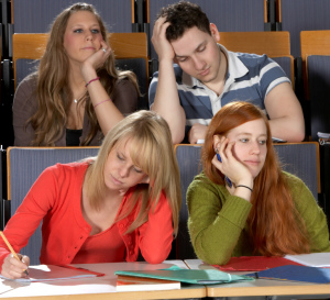 Four distracted students