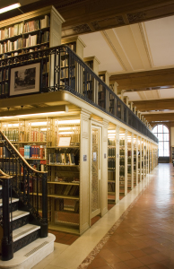 Two-story bookshelves in a library