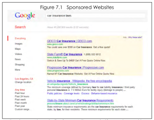 Screenshot of a google search and related ads.