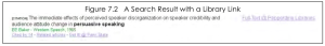 A screenshot of a search result with a library link.