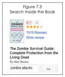 Screenshot of a book result for a search of zombie attacks.
