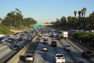 A highway crowded with cars.