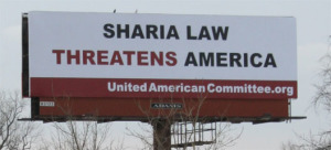Billboard that says Sharia Law threatens America.