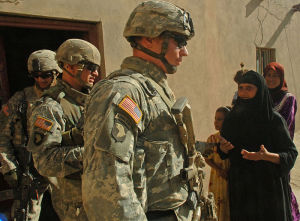 Soldiers exiting home in Iraq