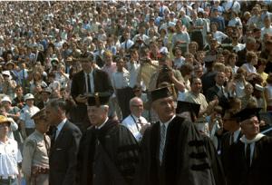 Lyndon B. Johnson in a crowd.