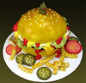 Cake that looks like a cheesburger.
