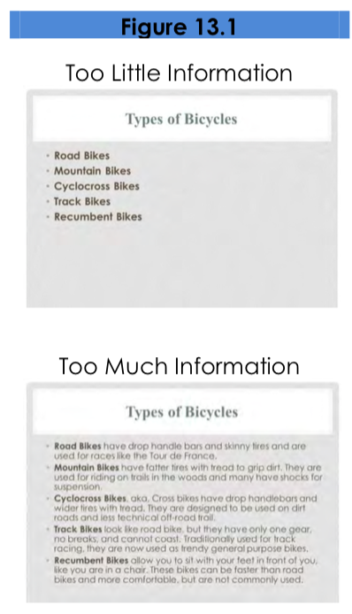 Figure 13.1. Two Powerpoint slides. The 'Too Little Information' slide shows a bulleted list of types of bicycles. The 'Too Much Information' slide shows the names and definitions of five kinds of bicycles.