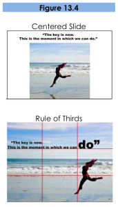 Figure 13.4. Both slides show a picture of a person leaping on a beach. In the centered slide, the image is cropped and centered so that the leaping figure is at the center of the slide. The quote is above the picture. In the rule-of-thirds slide, the picture takes up the entire slide. The leaping figure is on the right third of the slide, while the quote overlaps the photo in the top third of the slide.