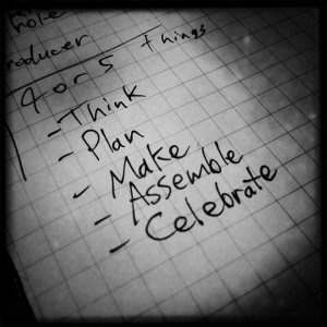 A list of verbs. Think, plan, make, assemble, celebrate.
