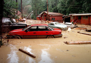 Flooded cars and houses
