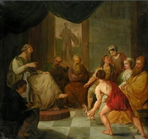 Diogenes bringing a plucked chicken
