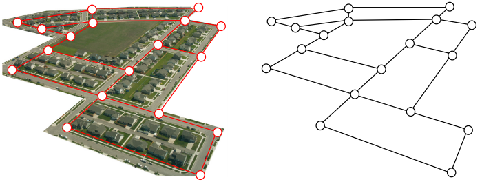 A graph made from a map of streets by drawing an edge where each street is and a vertex where every intersection is.