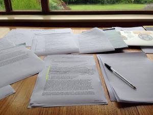 Paperwork on desk