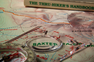 Hiking maps and compass