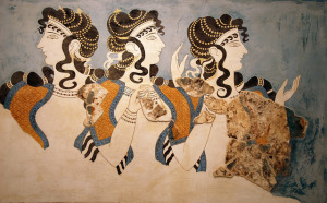 Cretan Painting of three figures
