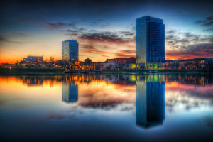 Buildings with Reflections in Water