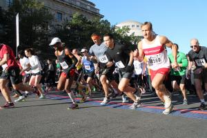 Starting line for marathon runners