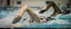 Close-up of competitive swimmers