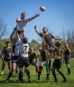 Rugby teams lifting players into the air to reach ball