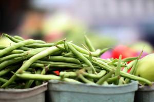 Green beans at a farmer's market