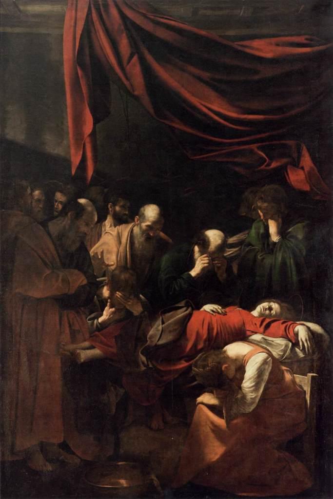 Michelangelo Merisi da Caravaggio,The Death of the Virgin, 1601–03, oil on canvas, 369 × 245cm. Musée du Louvre, Paris.