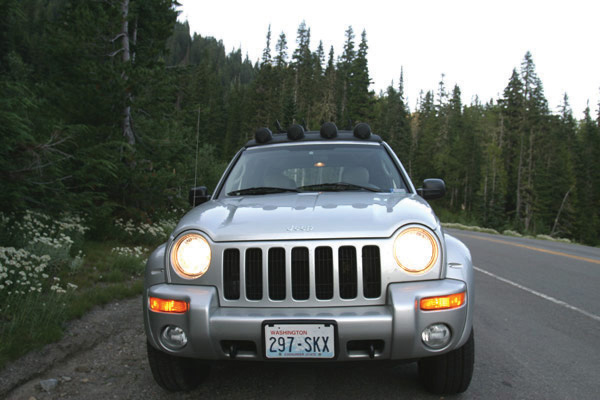 Image of the front grill on a Jeep.