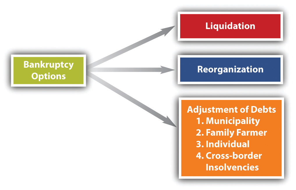 Chart showing that a bankruptcy can lead to liquidation, reorganization, or adjustment of debts.