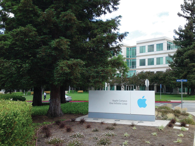 Image of Apple Campus Headquarters sign.