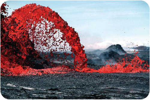 Bright red lava spurting from the earth