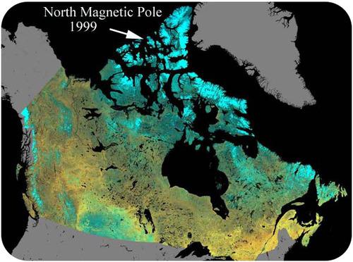 O Pólo Norte Magnético em 1999, em uma das pequenas ilhas no norte do continente norte-americano