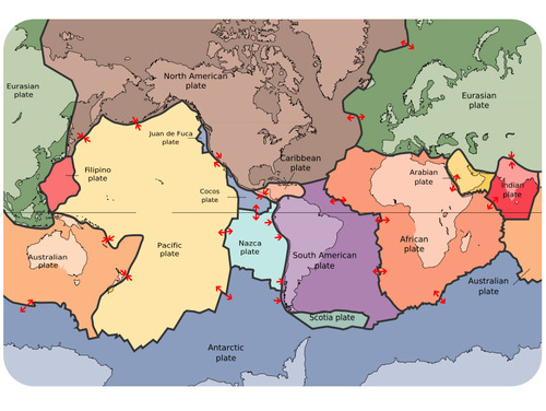 Map of lithospheric plates