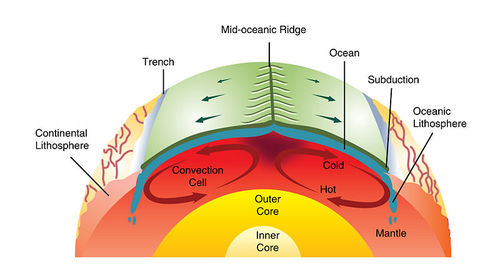 Cross-section of the earth. At the center of the earth is the inner core. Surrounding that is the outer core and surrounding that is the mantle, which has convection cells. At the surface is the ocean, upon which is the mid-oceanic ridge