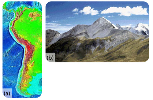 A) shows the Nazca plate boundary. B) shows the Andes mountains