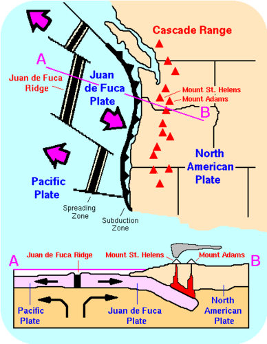 The Juan de Fuca plate, whose boundary runs across the Pacific coast of North America. Mount St Helens and Mount Adams are part of the mountain range formed by the plate boundary between the Juan de Fuca plate and the North American plate